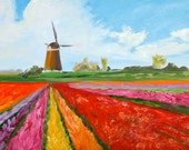Fine Art by Rebecca Croft Original Oil Painting Spring Tulips in Holland Landscape