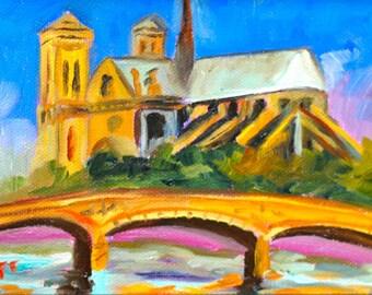 Fine Art by Rebecca Croft Original Oil Painting City Scape Notre Dame Paris Night