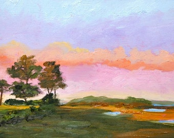 Fine Art by Rebecca Croft Original Oil Painting Savannah Sunset Landscape