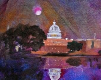 Rebecca Croft Original Acrylic Painting The Washington Capitol
