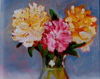 Original Oil Painting by Rebecca Croft Fine Art Impressionist Impasto Still LIfe Flowers