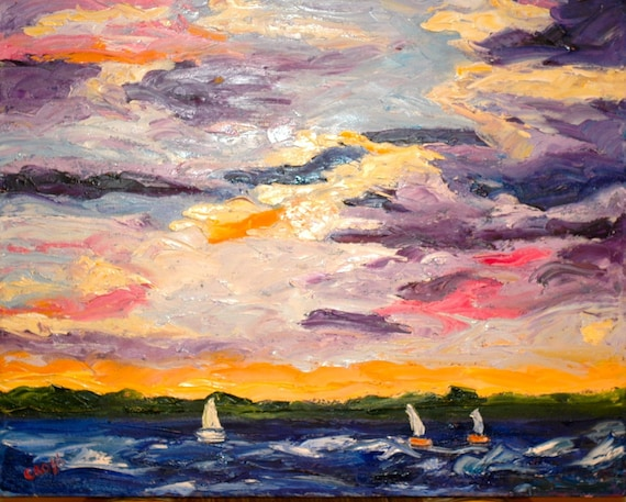 Fine Art by Rebecca Croft Original Palette Knife Impressionist Oil Painting Sunset Sail Landscape