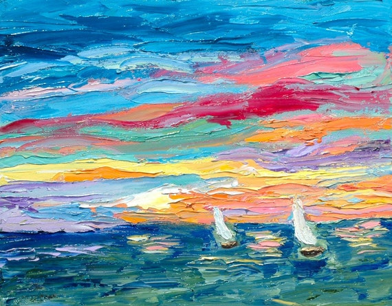 Fine Art Original Palette Knife Oil Painting Sunset Sail Boat Race Seascape by Rebecca Croft