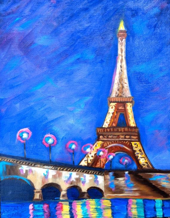 Fine Art by Rebecca Croft Original Oil Painting Landscape 11 x Eiffel Tower Painting Landscape