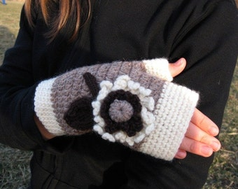 White, Brown and Taupe Flowered Fingerless Mittens