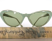 Cool 1950s Cat Eye Vintage Sunglasses from Germany - Green White Stripes - FrauleinMarlene