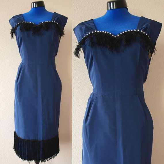 Reserved --- ON SALE --- was 60 --- Stunning 1950s Vintage Blue Party Dress with Black Fringes and Rhinestones - Flapper Girl - Size L XL