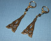 Vintage Gold Plated Brass Art Deco Earrings