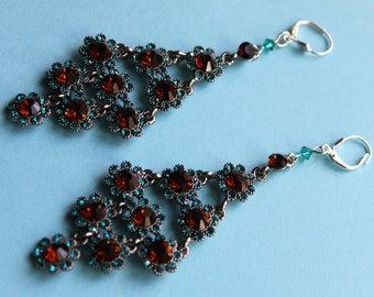Turquoise and Dark Topaz Peacock Feather Rhinestone Earrings (LONG)