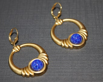 Brass and Lapis Lazuli Earrings
