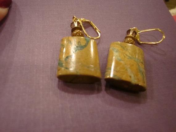 Unakite Rectangle Earrings (Medium Size)