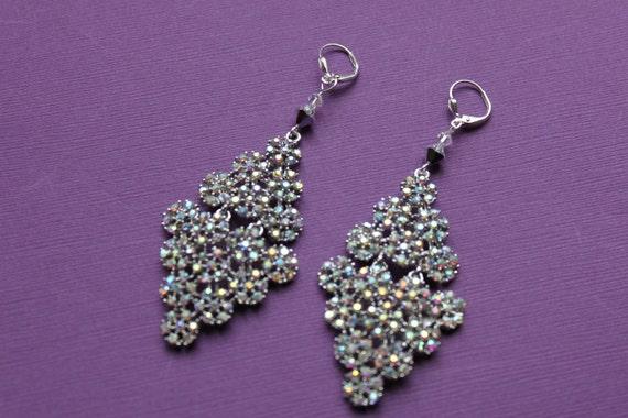 Rhodium and Aurora Borealis Chandelier Earrings