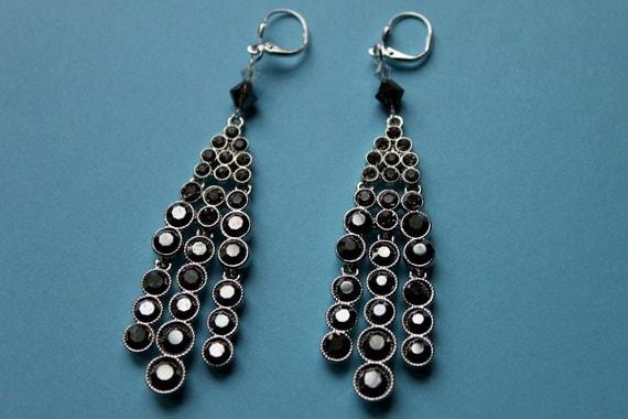 Black Diamond and Hematite Crystal Earrings