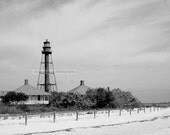 Sanibel Florida beach with lighthouse  black and white photography