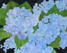 "blue hydrangeas watercolor painting archival print 8"" x 10"""
