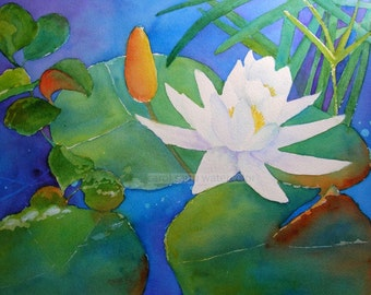 water lily watercolor painting archival print