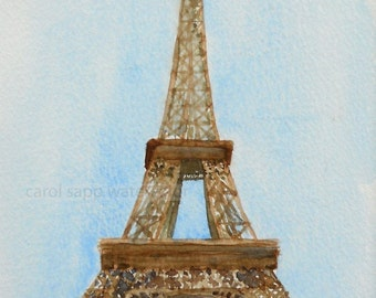 "eiffel tower painting watercolor archival print 5"" x 7"""