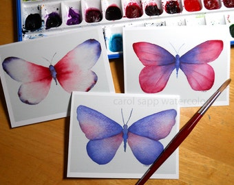 butterfly note cards watercolor
