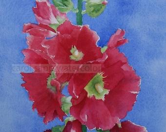 red hollyhocks watercolor flower painting archival print