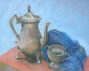 teapot still life pastel painting archival print