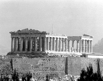 Parthenon Athens Greece black and white photograph