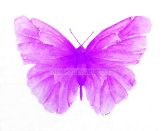 fuschia butterfly watercolor archival print by Carol Sapp