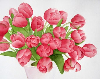 pink tulip painting bouquet watercolor archival print by Carol Sapp