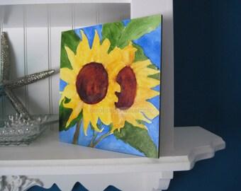 "sunflowers watercolor original painting 6"" x 6"" on Aquabord"