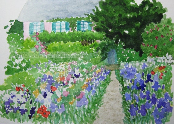 "Monet's garden  Giverny archival print of watercolor painting 5"" x 7"""