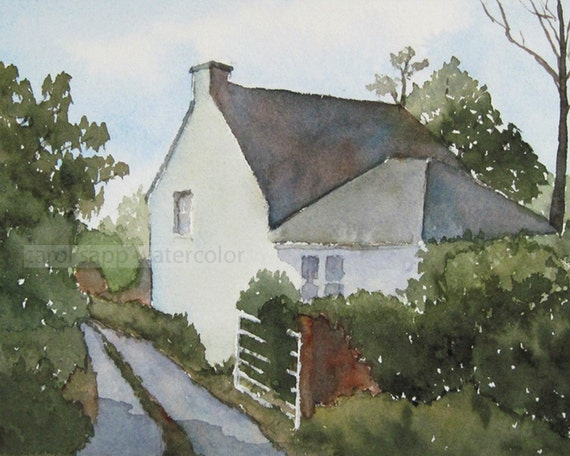 Irish Cottage Watercolor Painting Archival Print 8 X By