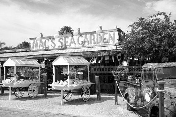 key west mac's sea garden black &  white photograph