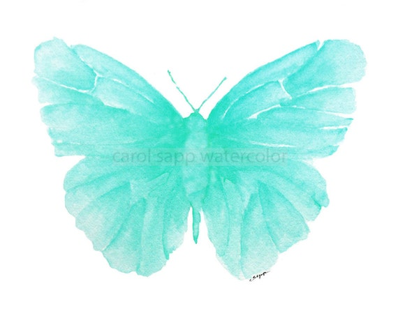 turquoise butterfly watercolor archival print by Carol Sapp