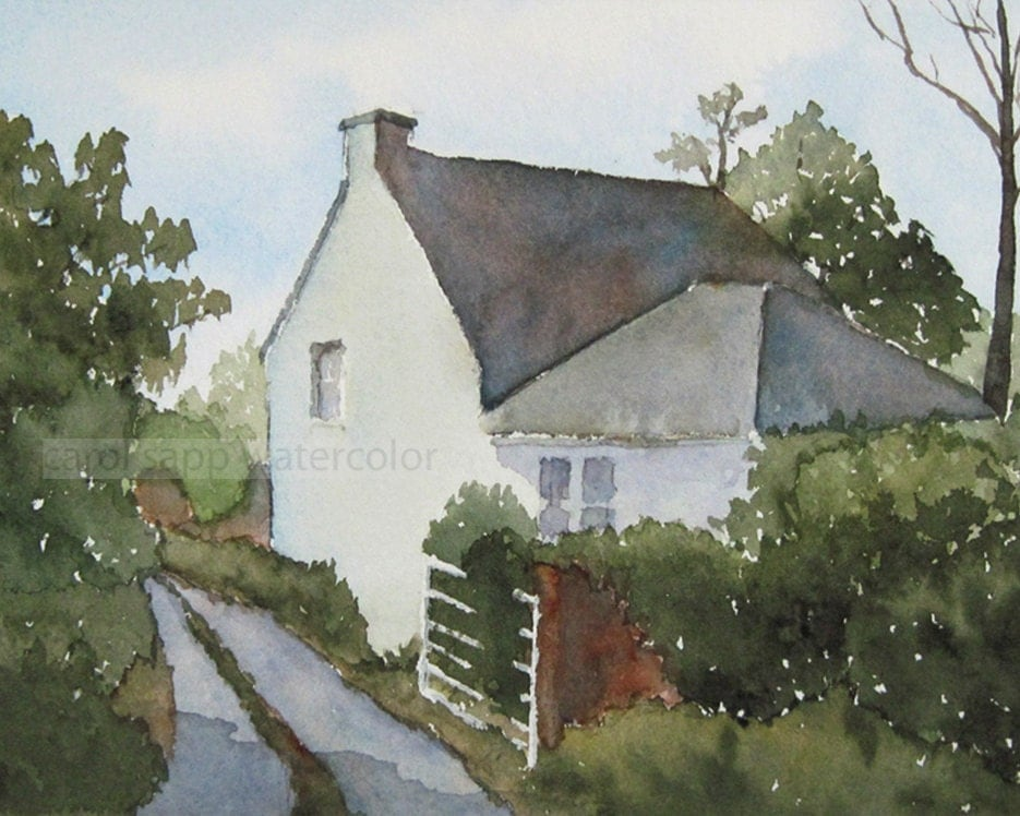 Irish Cottage Watercolor Painting Archival Print 8 X