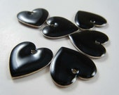 Black Heart Charms 16x16mm - Set of 6