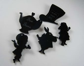 Black Acrylic Silhouette Alice in Wonderland Charms Mad Hatter White Rabbit Alice Tea Pot - Set of 5