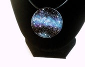 Large Stargazer Nebula Necklace Hand Painted Pendant in Turquoise blue and Purple by Roots and Wings Designs.
