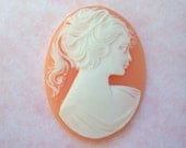 Vintage frosted coral and ivory 40x30mm cameo-UO56