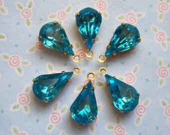 Vintage Czech aquamarine pear rhinestones in brass charm settings lot of (6) - YA120