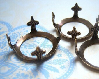 Antiqued brass open back pronged settings, lot of (3) --TB225