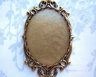 Antique brass Victorian style 40x30mm cameo setting, lot of (1) - TC226