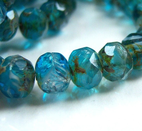 Czech marine ocean blue 6x8mm rondelle bead lot of (25) - HJ350