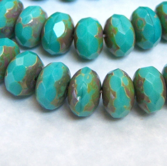 Czech turquoise picasso 9x6mm rondelle bead lot of (12) - ZS108
