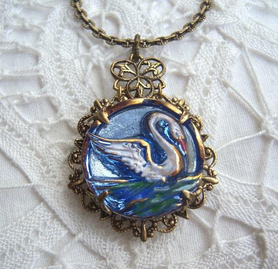 Swan lake button necklace, Czech glass handmade -U.S.A.FREE-SHIPPING -ZW455