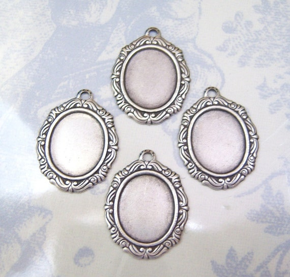Antiqued  silver plated 12x10mm setting lot of (4) -  WE132