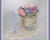 Garden Floral Arrangement, Summer Home Decor, Decoration, Flowers Table, Basket, Planter, Clay, Bike, Bicycle, Wicker, Flower Cart, Handmade