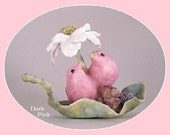Love Bird Wedding Cake Topper, Bird Cake Topper, Flower, Cute, Animals, Romantic, Elegant, Lovebird, Pink, Blue, Figurine, Clay, Handmade