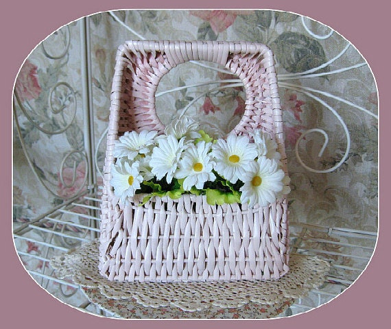 Vintage Shabby Chic Basket, Wicker, Wall Pocket, Pink Basket, Hanging, Flower Arrangement, Mail Holder, Towel, Collectible, Home Decor