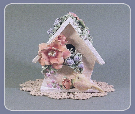 Birdhouse With Bird Bird House Shabby Chic Cottage Decor