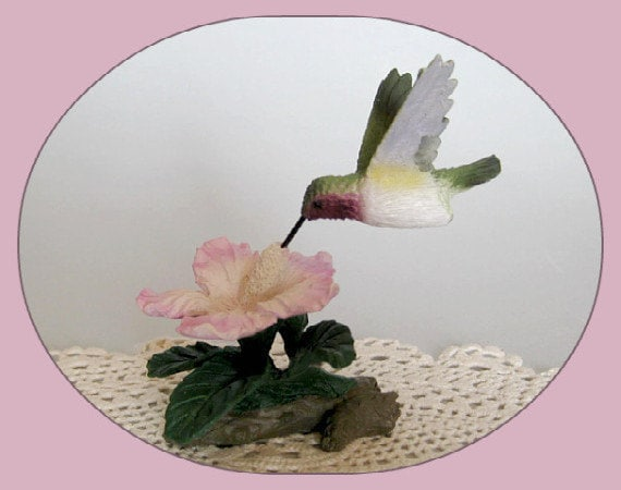 Vintage bird figurine hummingbird home decor cake topper for Hummingbird decor