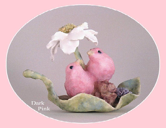 Love Bird Wedding Cake Topper, Bird Cake Topper, Flower, Cute, Animals, Romantic, Elegant, Lovebird, Pink, Blue, Figurine, Clay, Handmade